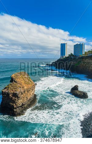 View On Ocean Shore And Hotel Buildings On The Rock In Punta Brava, Puerto De La Cruz, Tenerife, Can
