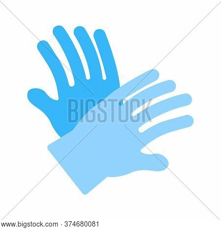 Medical Gloves Icon. Latex Gloves, Rubber Gloves Symbol. Flat Icon Design For Healthare Concept, Vir