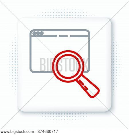 Line Search In A Browser Window Icon Isolated On White Background. Colorful Outline Concept. Vector