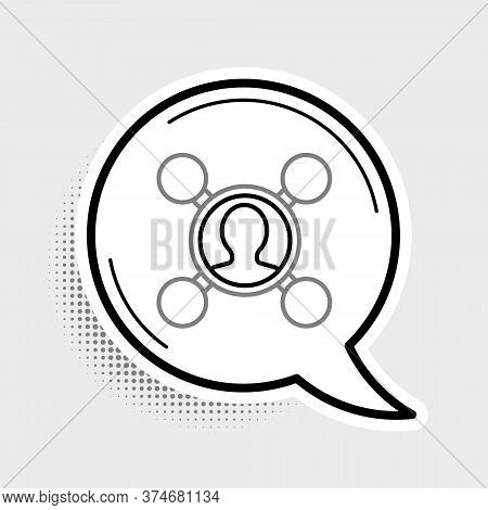 Line Share Icon Isolated On Grey Background. Sharing, Communication Pictogram, Social Media, Connect