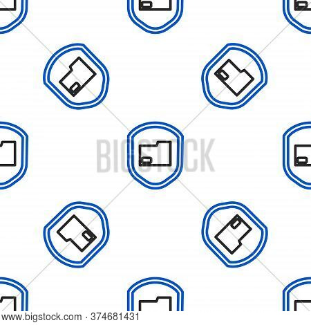 Line Document Folder Protection Concept Icon Isolated Seamless Pattern On White Background. Confiden