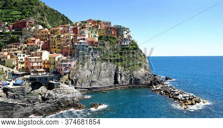 Manarola Town On The Rock, Cinque Terre, Liguria, Italy