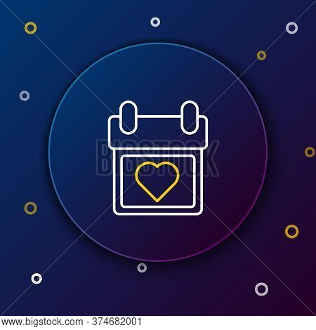 Line Calendar With Heart Icon Isolated On Blue Background. Valentines Day. Love Symbol. February 14.