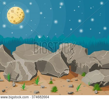Pile Of Rock Stone With Grass On Sand. Stones And Rocks In Variuos Sizes. Set Of Different Boulders.