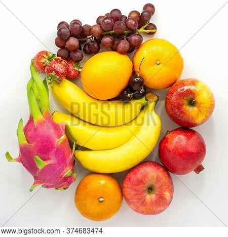 Fresh Fruits.assorted Fruits Colorful,clean Eating,fruit Background,apple,banana,dragon Fruit,pomegr