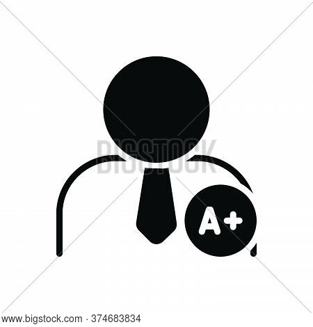 Black Solid Icon For Matriculate Add People Grade Secondary