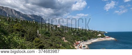 Panorama Of The Resort Simeiz City On Background Of The Crimean Mountains