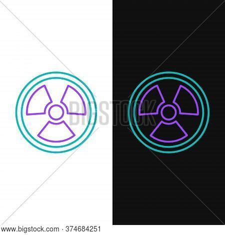Line Radioactive Icon Isolated On White And Black Background. Radioactive Toxic Symbol. Radiation Ha