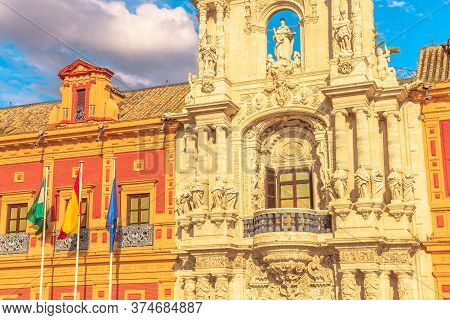 Seville, Andalusia, Spain - April 18, 2016: Details Of Facade Of Palace Of San Telmo, Seat Of Presid