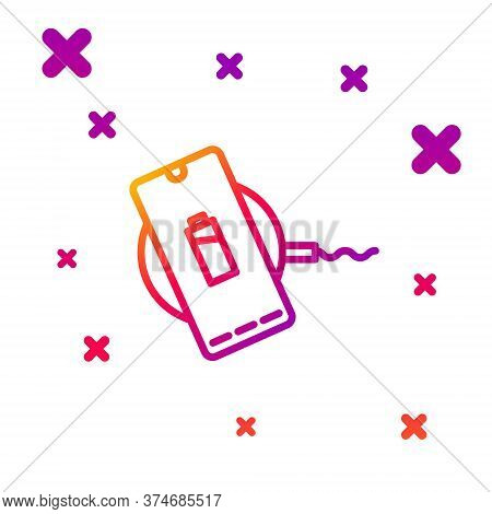 Color Line Smartphone Charging On Wireless Charger Icon Isolated On White Background. Charging Batte