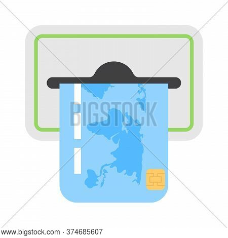 Atm Credit Or Debit Card Slot Icon In Flat Style. Inserting Plastic Card For Banking Transactions.