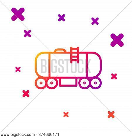Color Line Oil Railway Cistern Icon Isolated On White Background. Train Oil Tank On Railway Car. Rai