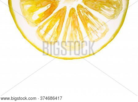 Watercolor Drawing Of Half Of Yellow Lemon Isolated On The White Background. Handmade Illustration O