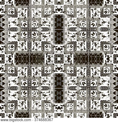 Egyptian Seamless Pattern. African Tribal Ethnic Vector Background. Abstract Shapes, Sphinx, Pharaoh