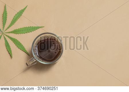 Cannabis, Hemp, Cbd Or Thc Infused Black Coffee On Neutral Beige Background