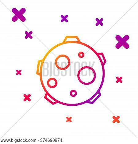 Color Line Ufo Abducts Cow Icon Isolated On White Background. Flying Saucer. Alien Space Ship. Futur