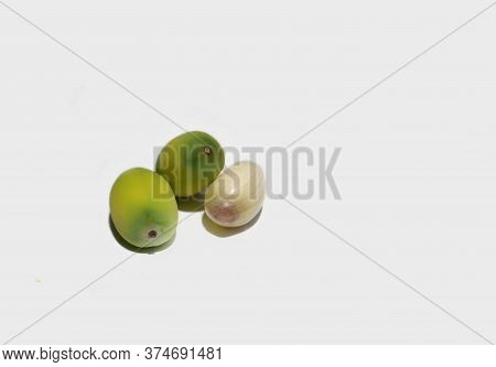 Indian Lotus Seeds Or Nelumbo Nucifera Seeds Isolated On White Background With Copy Space For Texts