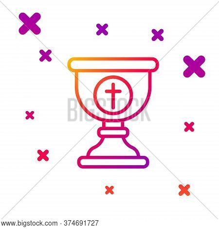 Color Line Christian Chalice Icon Isolated On White Background. Christianity Icon. Happy Easter. Gra