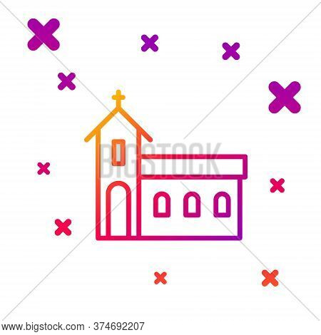 Color Line Church Building Icon Isolated On White Background. Christian Church. Religion Of Church.