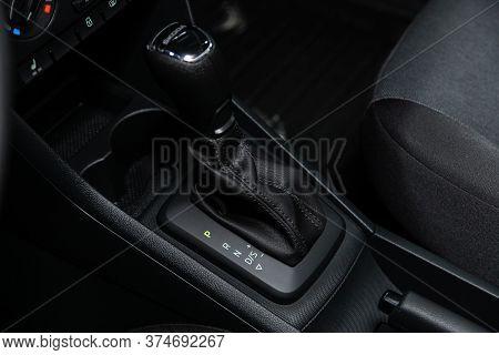 Novosibirsk/ Russia - June 30  2020:  Scoda Rapid, Gear Shift. Automatic Transmission Gear Of Car ,