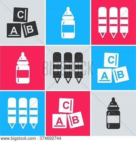 Set Abc Blocks, Baby Bottle And Wax Crayons For Drawing Icon. Vector