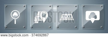 Set Map Pointer With Taxi, Taxi Car Roof, Map Pointer With Taxi And Magnifying Glass And Taxi Car. S