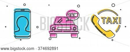 Set Taxi Call Telephone Service, Taxi Car And Taxi Call Telephone Service Icon. Vector