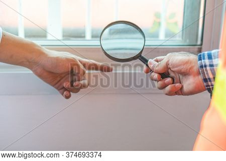 Inspection Checklist Review Material Property. Consultant House Inspector Holding Magnifying Glass C