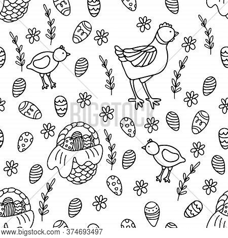 Vector Seamless Pattern With Hens And Chickens, Wicker Baskets Full Of Easter Eggs And Daisies. Grea