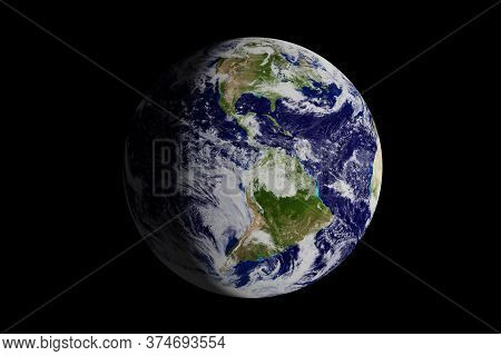 Planet Earth Seen From Space Where The American Continent Is Seen. 3d Illustration.
