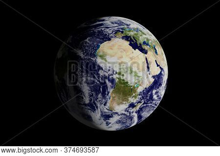 Planet Earth Seen From Space Where The European Continent And Africa Are Seen. 3d Illustration.