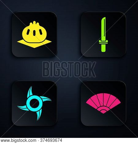 Set Paper Chinese Or Japanese Folding Fan, Khinkali On Cutting Board, Japanese Ninja Shuriken And Ja