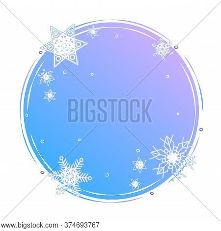 Winter Circle Shape Concept. Snowflakes On Blue Round Background Template. Blank Snowy Backdrop Deco