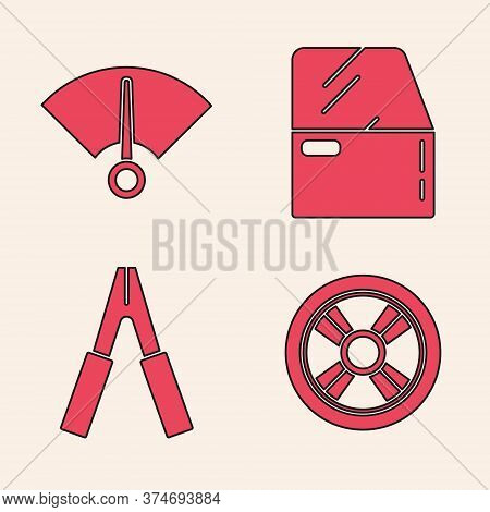 Set Car Wheel, Speedometer, Car Door And Car Battery Jumper Power Cable Icon. Vector