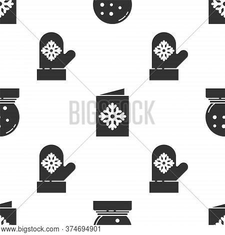 Set Christmas Snow Globe With Fallen Snow, Christmas Postcard And Christmas Mitten On Seamless Patte