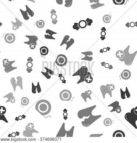 Set Candy, Broken Tooth, Tooth With Caries And Dental Floss On Seamless Pattern. Vector