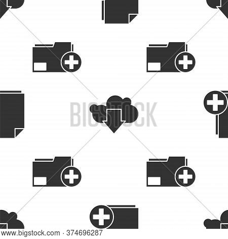 Set Add New File, Cloud Download And Add New Folder On Seamless Pattern. Vector