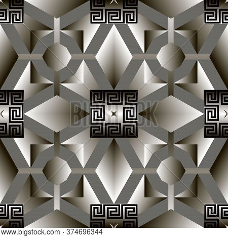 Geometric Greek 3d Vector Seamless Pattern. Abstract Tribal Ethnic Style Background. Repeat Monochro