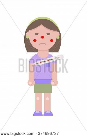 A Young Girl In A Flat Style Caught A Virus Or A Cold Flu. She Has A Thermometer Under Her Arm. She