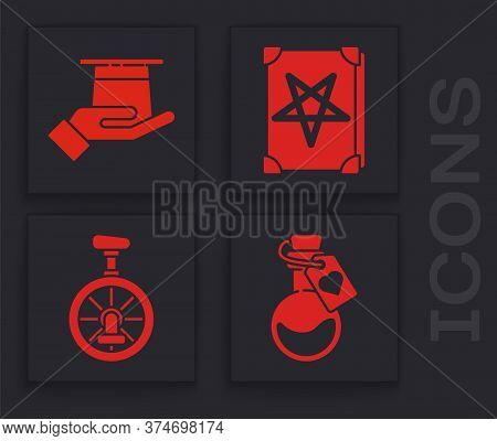 Set Bottle With Love Potion, Magician Hat In Hand, Ancient Magic Book And Unicycle Or One Wheel Bicy