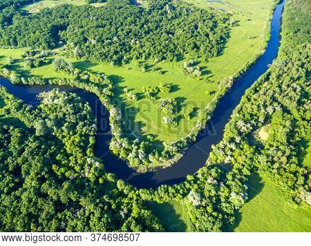 Aerial View To Summer Landscape With Forest And River Bend Of Seversky Donets, Kharkiv Region, Ukrai