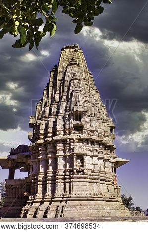 Rajasthan, India - October 06, 2012: A Closeup Of A Hindu Temple Surrounding Abandoned Cursed Ruined