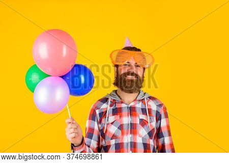 Happy Birthday. Man With Balloons. Celebrating Concept. Party Time. Joy, Fun And Happiness Concept.
