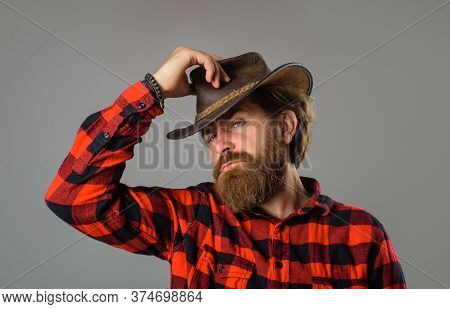 Man In Checkered Shirt On Ranch. Cowboy In Country Side. Western. Western Cowboy Portrait. Stylish R