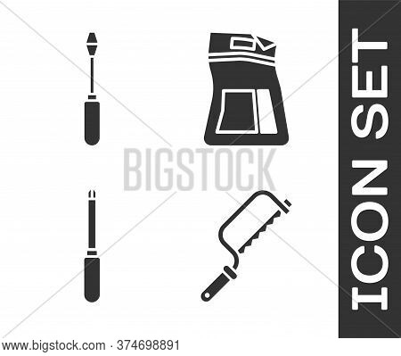 Set Hacksaw, Screwdriver, Screwdriver And Cement Bag Icon. Vector
