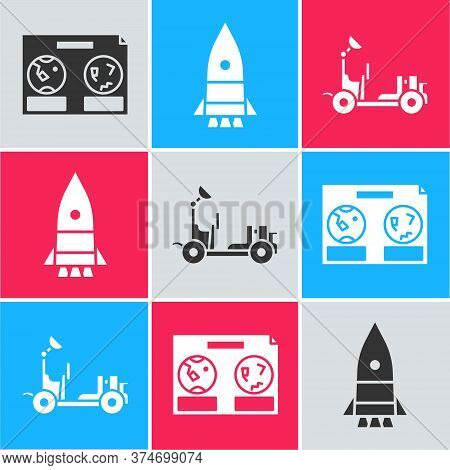 Set Celestial Map Of The Night Sky, Rocket Ship And Mars Rover Icon. Vector