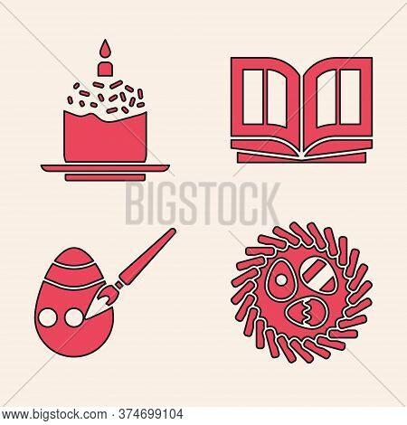 Set Easter Egg In A Wicker Nest, Easter Cake And Candle, Holy Bible Book And Easter Egg And Paint Br