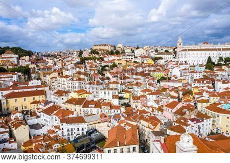 Lisbon Sightseeing From Above - The Historic District Of Alfama - Aerial Drone Footage