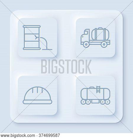 Set Line Barrel Oil Leak, Tanker Truck, Worker Safety Helmet And Oil Railway Cistern. White Square B