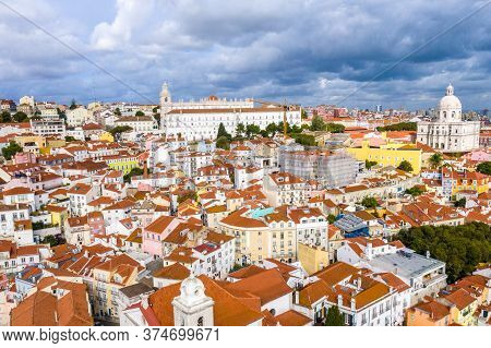 Aerial View Over The Historic Alfama District Of Lisbon - Aerial Drone Footage